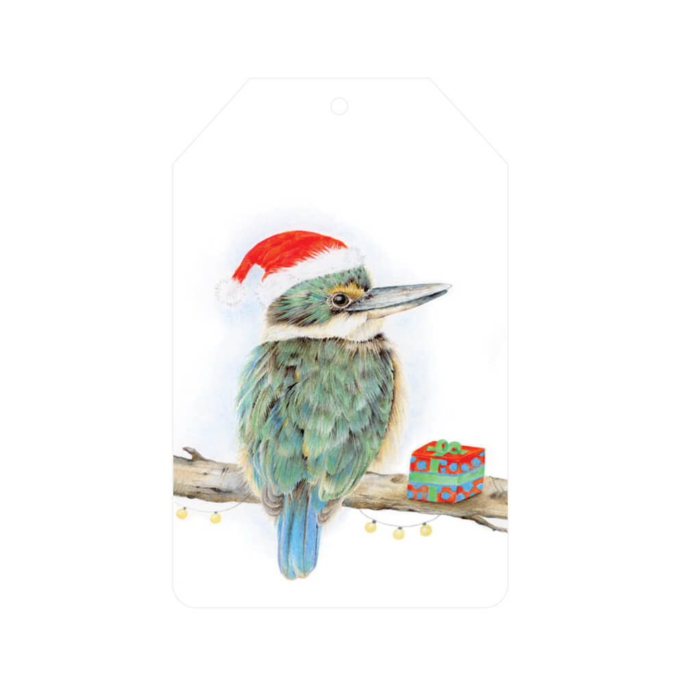 10 pack gift tags kingfisher christmas  popcorn blue